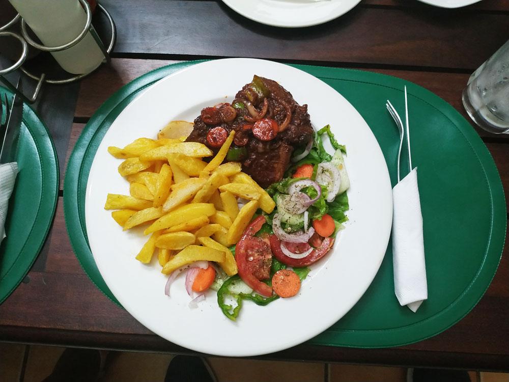 Mapiri Lodge chips and beef